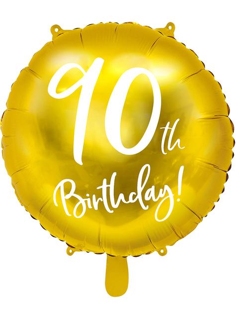 Golden 90th Birthday balloon (45 cm)