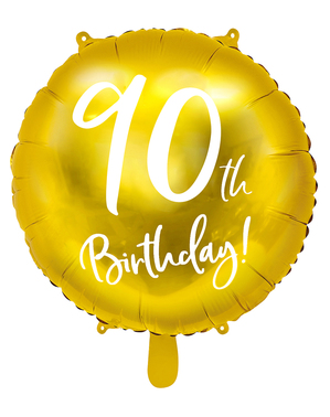 Palloncino 90 th Birthday dorato (45 cm)