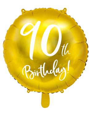 """Златист балон с надпис""""90th Birthday""""(45cm)"""