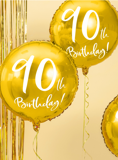 Golden 90th Birthday balloon (45 cm) - for parties