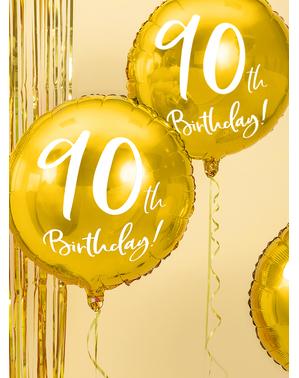 Ballon 90 th Birthday doré (45 cm)