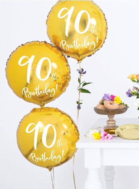 Globo 90 th Birthday dorado (45 cm)