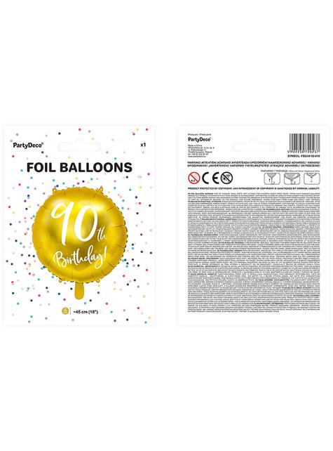 90th Birthday Luftballon gold (45 cm) - kaufen