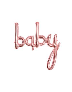Balon Baby roz auriu (75 cm) - Baby Shower Party