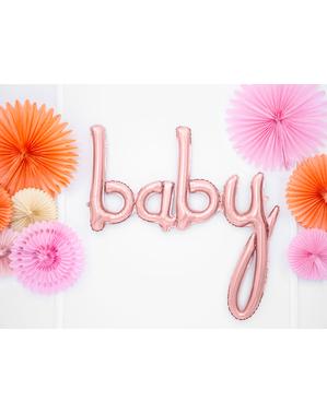 Ballong Baby roséguldfärgad (75 cm) - Baby Shower Party