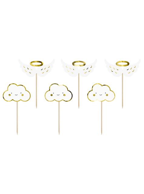 6 dekorative toppers med skyer og engle - Baptism Day