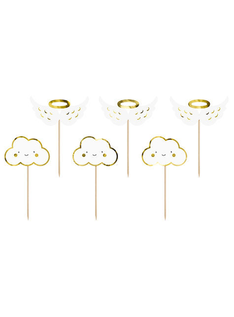 6 toppers decorativos con nubes y angelitos - Baptism Day