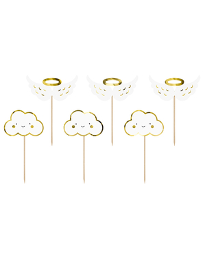 6 cake toppers nuages et ailes d'anges - Baptism Day