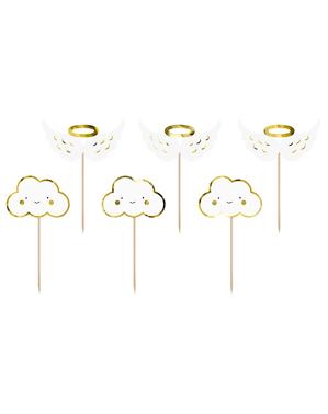 6 decoratieve toppers met wolken en engels - Baptism Day
