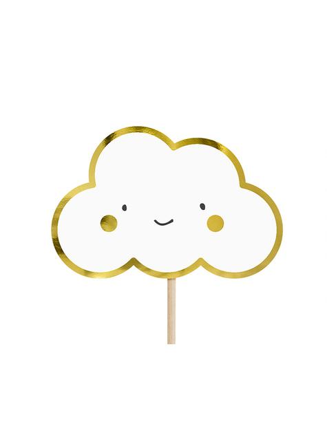 6 Cocktail Stäbchen mit Wolken und Engeln - Babtism Day - für Mottopartys