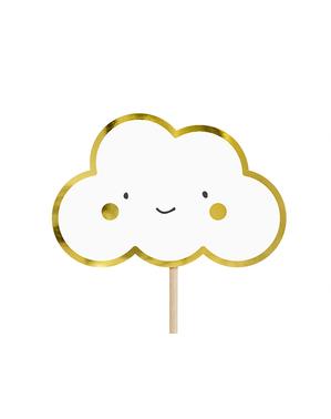 6 Cocktail Stäbchen mit Wolken und Engeln - Babtism Day