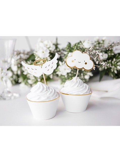 6 cake toppers nuages et ailes d'anges - Baptism Day - pas cher