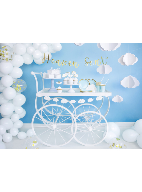 6 cake toppers nuages et ailes d'anges - Baptism Day - acheter