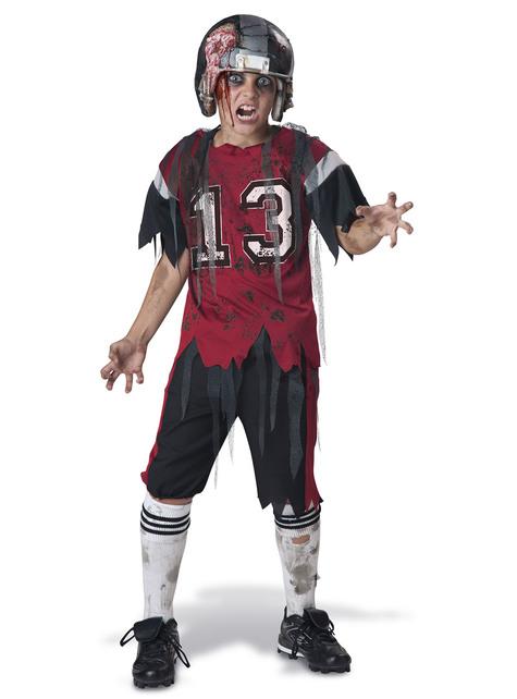 Fato de jogador de Rugby zombie para menino