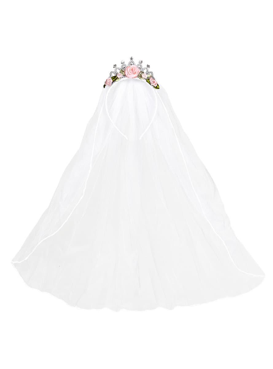 Voile mari e avec couronne et fleurs femme pour d guisement funidelia - Couronne fleurs mariee ...