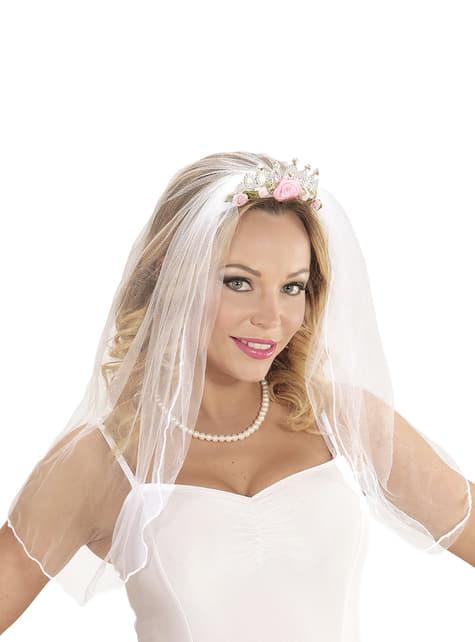 Velo de novia con corona y flores para mujer - para tu disfraz