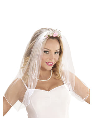 Woman's Bridal Veil with Crown and Flowers