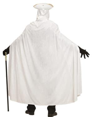 Biely zamatový plášť pre dospelých