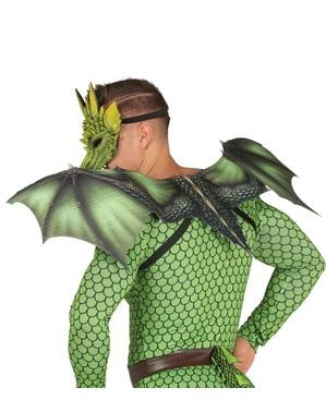 Asas de dragão verde para adulto