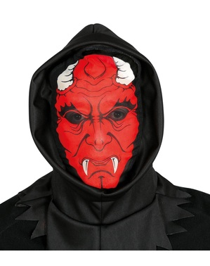 Máscara de demónio aterrador de licra com capuz para adulto