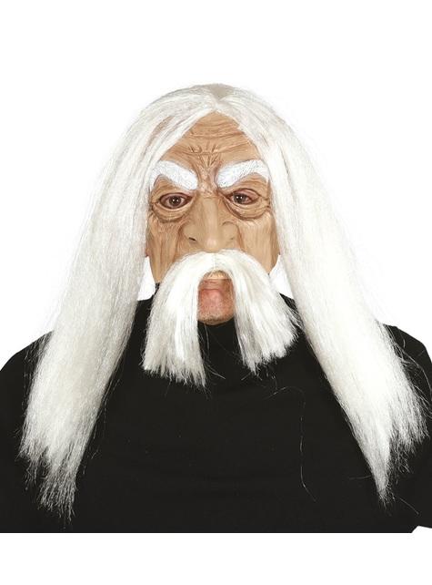 Máscara de Matusalem de PVC con pelo para adulto