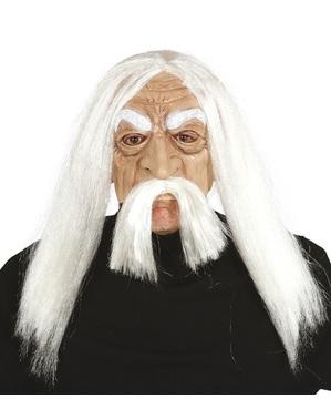 Maske Matusalem mit Haaren aus PVC für Erwachsene