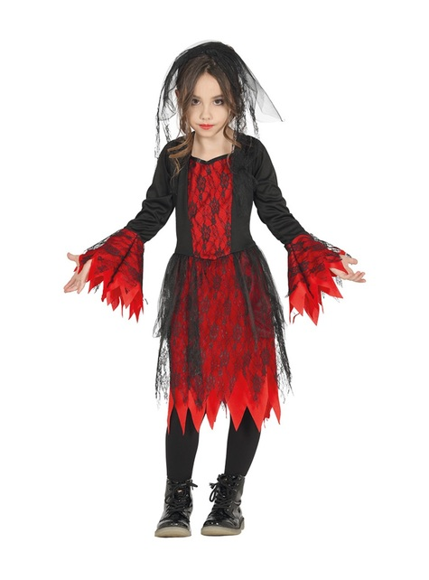 Red and black brides costume for girls