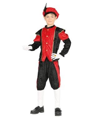 Červený Kostým Petr pomocník Santa Klause pro chlapce