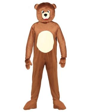 Bjørne kostume med hoved til voksne