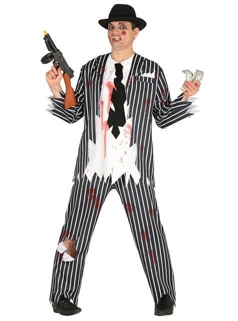 Disfraz de mafioso zombie para hombre