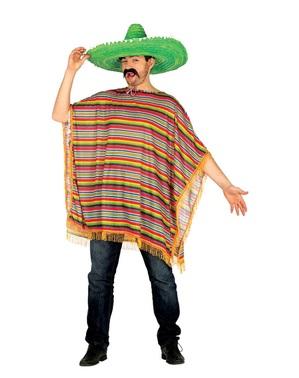 Poncho mexikansk färgglad för vuxen