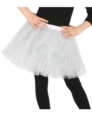 Tutu alb cu sclipici pentru fată