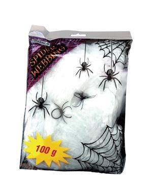 Бяла паяжина с декоративни паяци