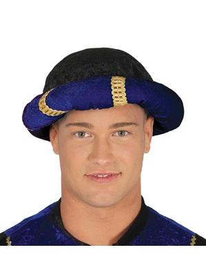 Turbante de pajem azul para adulto