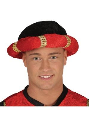 Turban de paj roșu pentru adult
