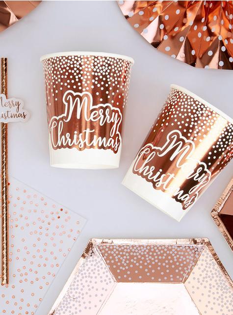 8 vasos oro rosa (20 cm) - Pink Christmas