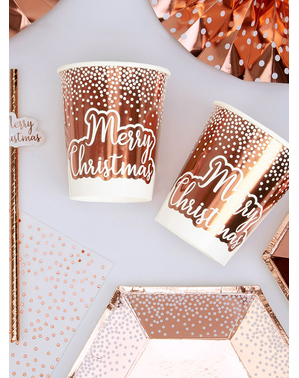 8 gobelets rose gold (20 cm) - Pink Christmas