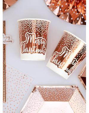 ピンク・クリスマス ローズゴールド色のコップ(20cm)8個