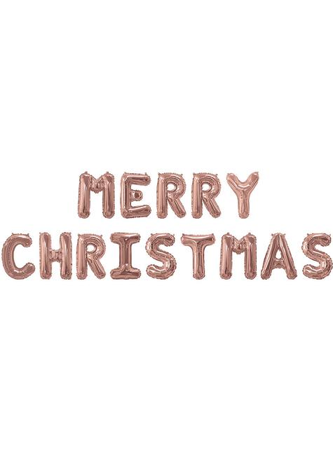 Ballon aluminium Merry Christmas rose gold - Pink Christmas