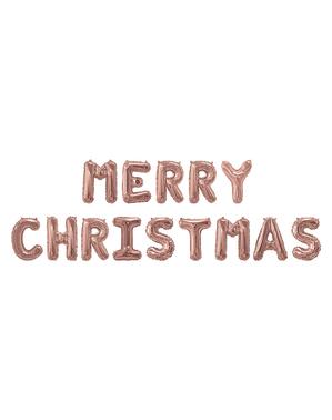 חג שמח רדיד בלון בזהב ורד - ורוד חג המולד