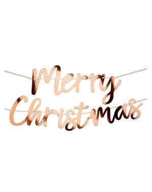 ピンククリスマス ローズゴールドの「メリークリスマス」飾り