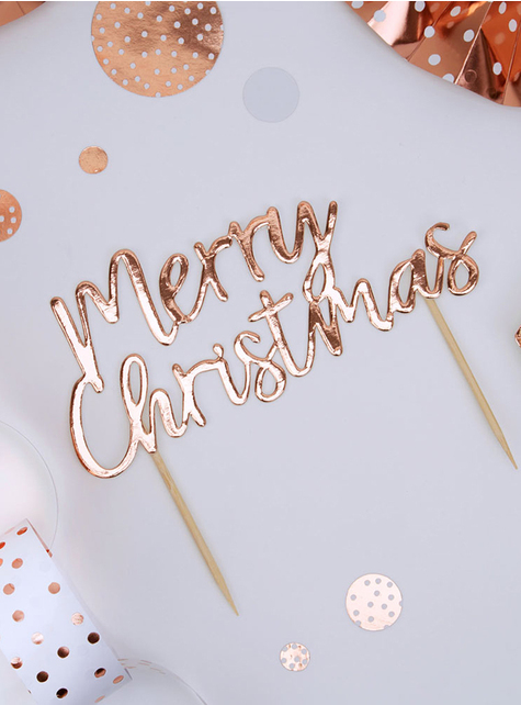 Toppers Merry Christmas oro rosa - Pink Christmas