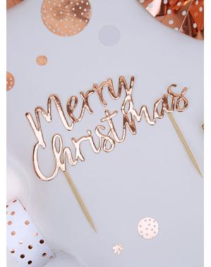 ピンク・クリスマス ローズゴールド色の「メリークリスマス」カップケーキ飾り