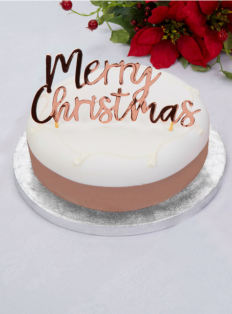 Merry Christmas toppers in rose gold - Pink Christmas