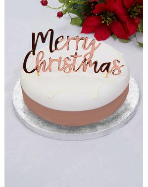 Merry Christmas -kakunpäällinen ruusukultaisena - Pink Christmas