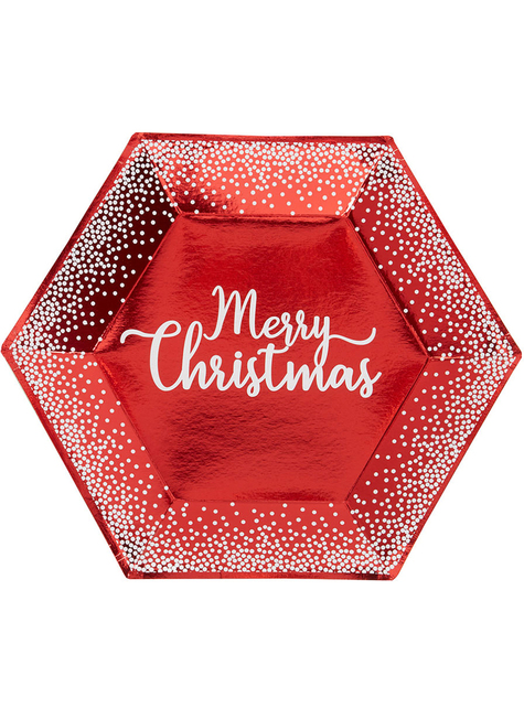 8 assiettes hexagonales rouges (27 cm) - Red Christmas