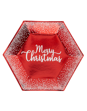 8 assiettes hexagonales rouges (27 cm) - Red Christmas