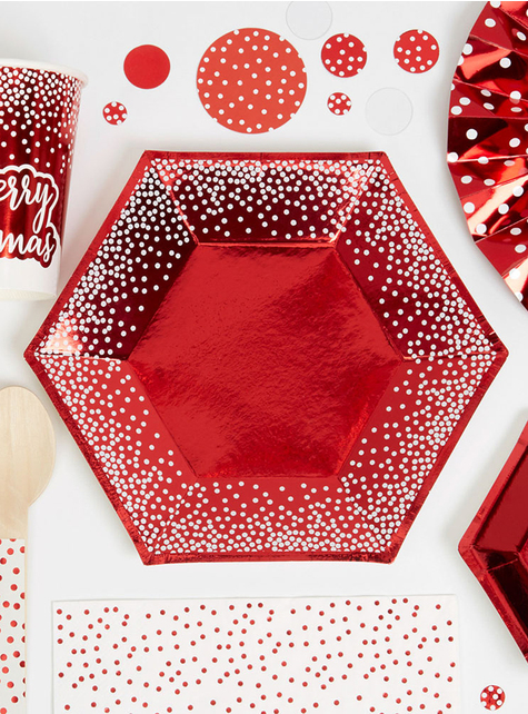 8 platos hexagonales rojos (20 cm) - Red Christmas