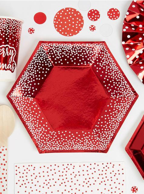 8 zeshoekige borden in rood (20 cm) - Pink Christmas