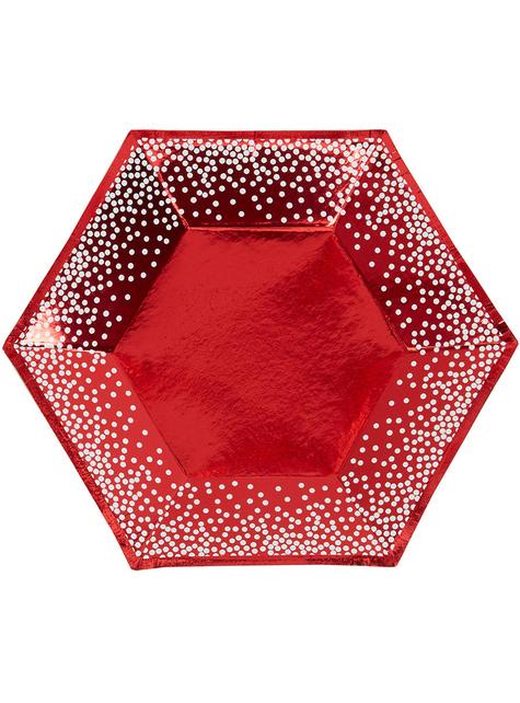 8 sekskantede tallerkner i rød (20 cm) - Red Christmas